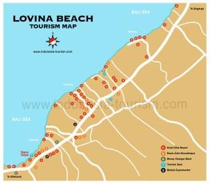 Carte de la ville de Lovina au nord de Bali en Indonésie