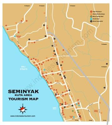 Carte de la ville de Seminyak au sud de Bali en Indonésie