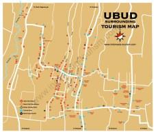 Carte de la ville d'Ubud au centre de Bali en Indonésie