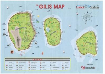 Carte des Gilis Trawangan, Air, Meno (Lombok) par Lombok Media
