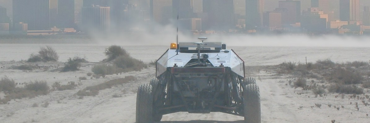 Image of Autonomous Robot From Second Grand Challenge Advancing to Urban Challenge.