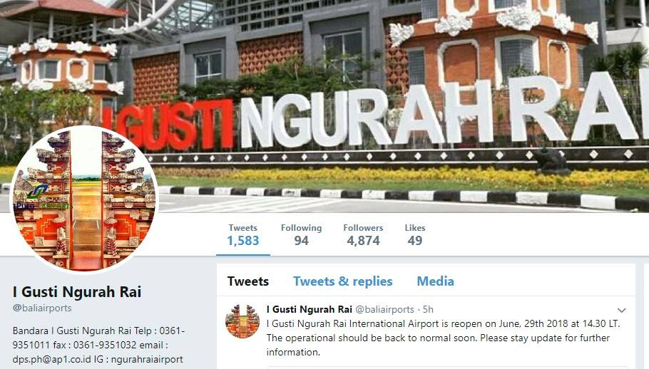 Bali airport twitter page