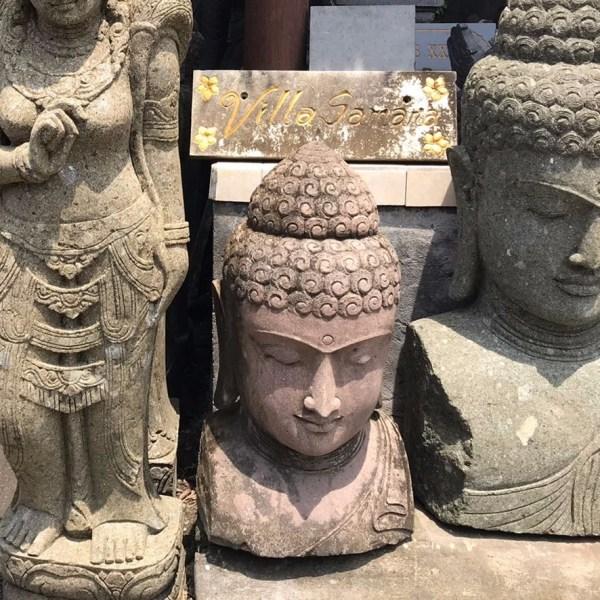 Buddha Head Garden Decor. Hand Carved Stone. Bali