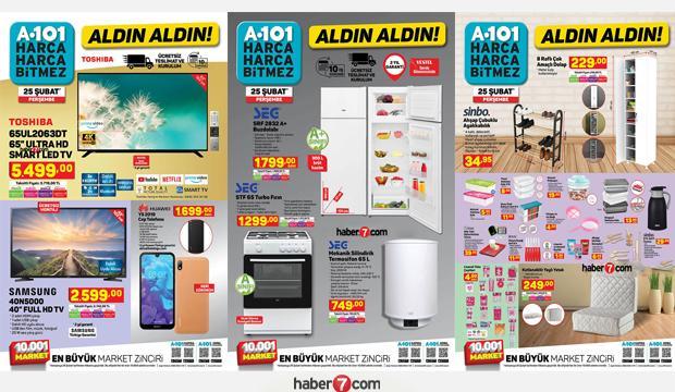 A101 25 Şubat aktüel kataloğu! Elektronik, züccaciye, mobilya, beyaz eşya, elektrikli ürünlerde