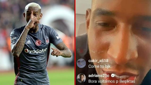 "Canlı yayında Talisca'ya, ""Hadi Beşiktaş'a dönelim"" çağrısı yapan Adriano, sosyal medyayı ayağa kaldırdı"