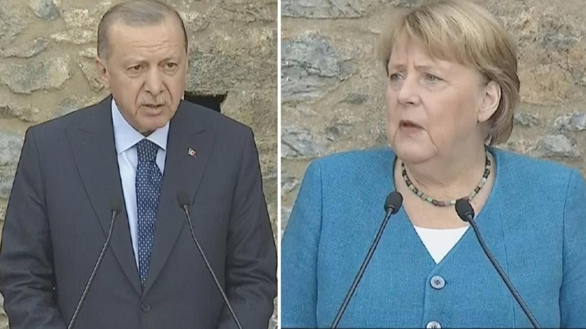 Cumhurbaşkanı Erdoğan veda ziyaretine gelen Merkel'e övgüler yağdırdı! Konuşmasını Almanca bitirdi