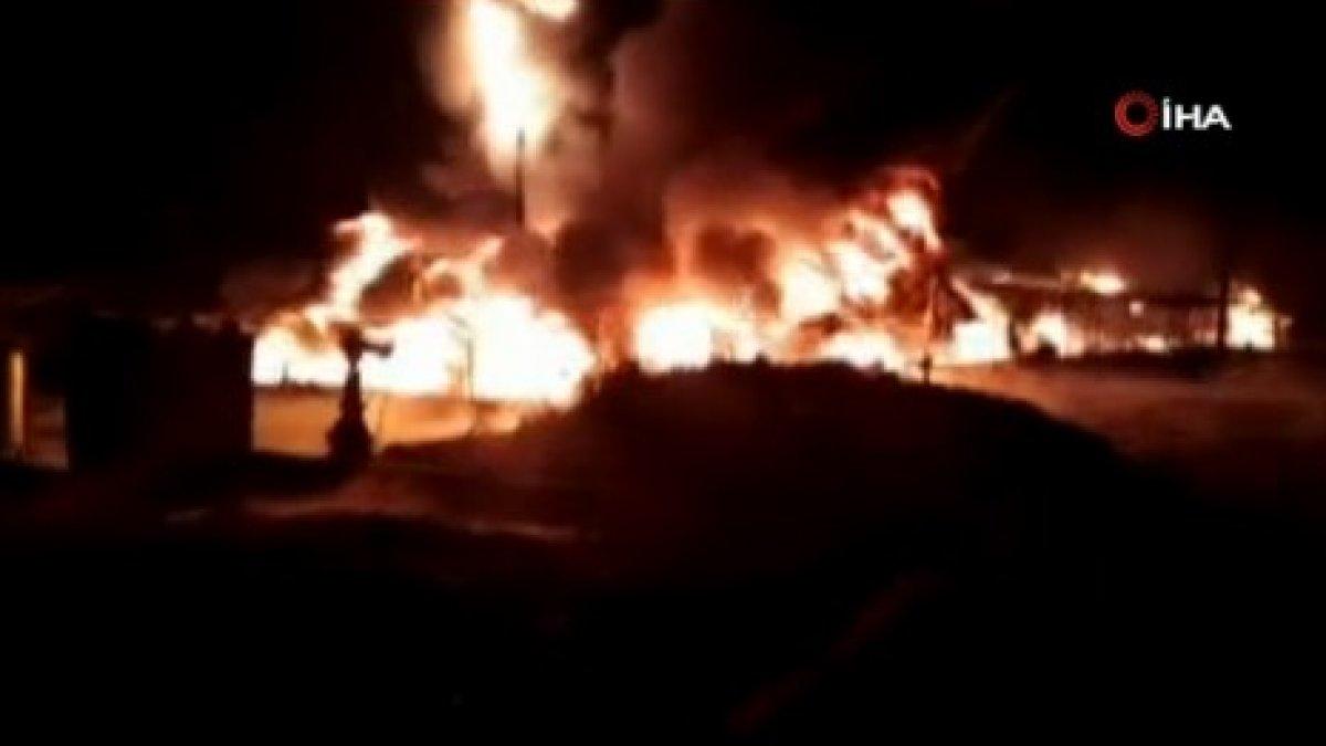 Suriye'de ham petrol taşımacılığı yapan şirkette yangın