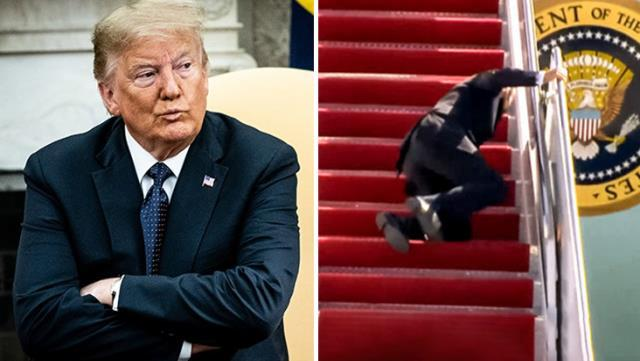 Trump'tan Biden'ın uçağa binerken düşmesine ilginç yorum: Bunu bekliyordum
