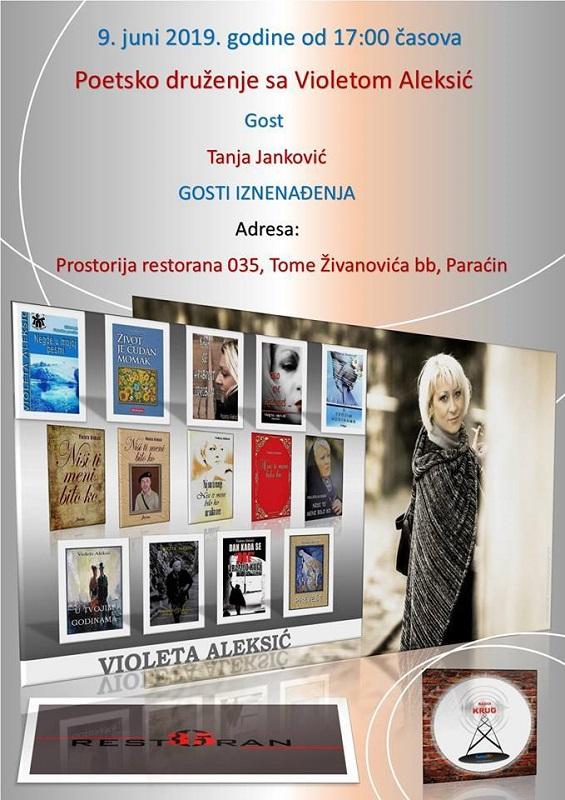 U nedelju 9. juna u Paraćinu poetsko druženje sa Violetom Aleksić, književnicom i novinarkom