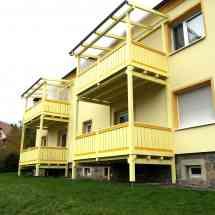 Balkonanbau mit Überdachung Eindeckung mit Doppelstegplatten