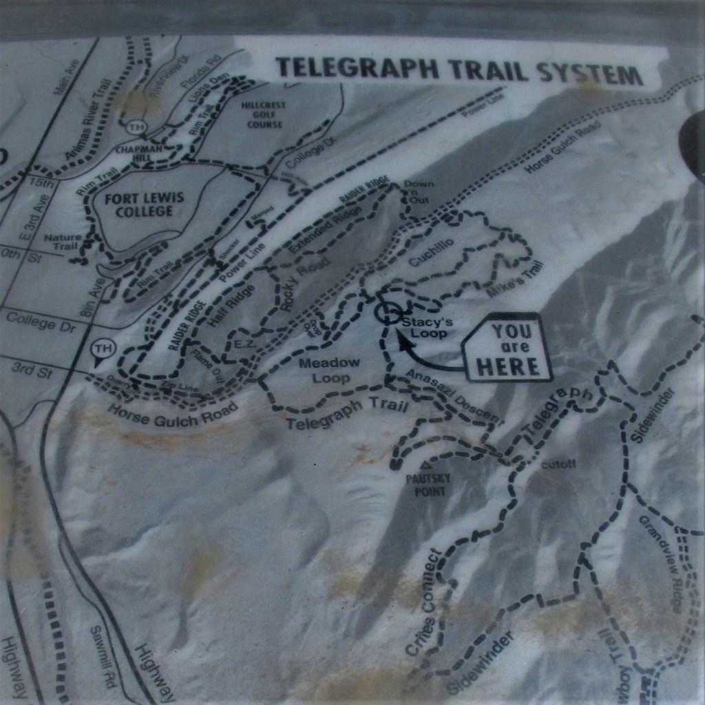 Telegraph Trail System Map; Durango, Colorado.