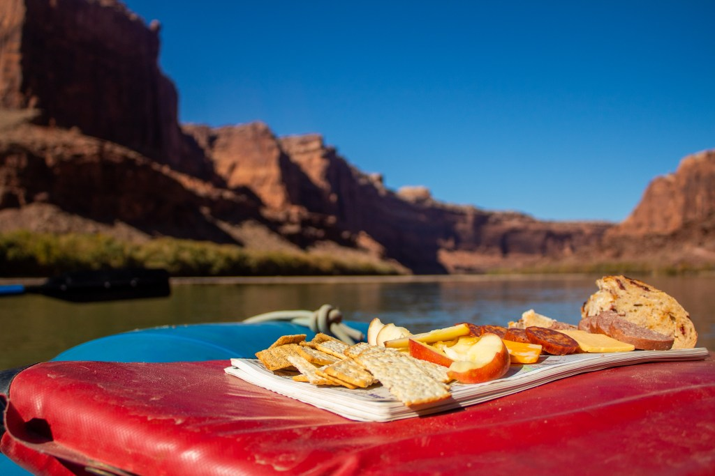 river trip happy hour labyrinth canyon green river charcuterie