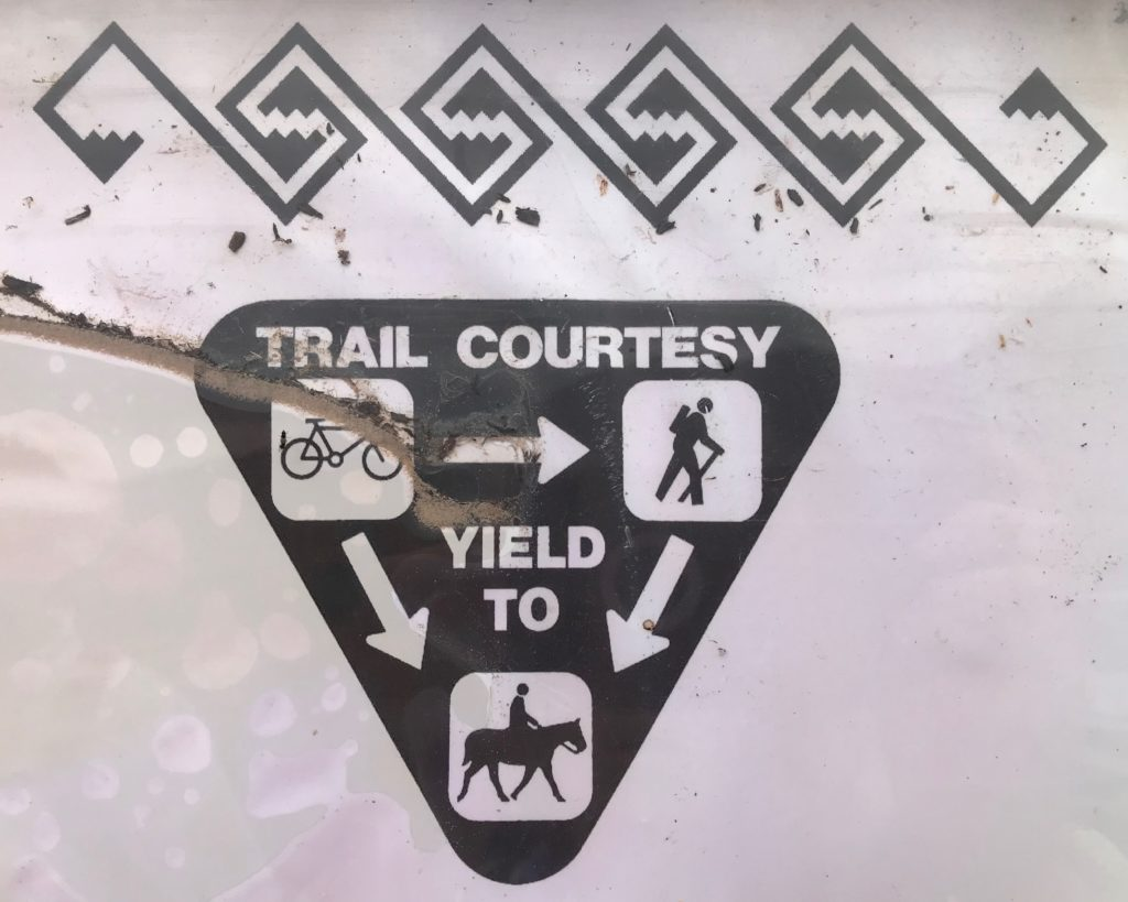 trail etiquette trail sign right of way