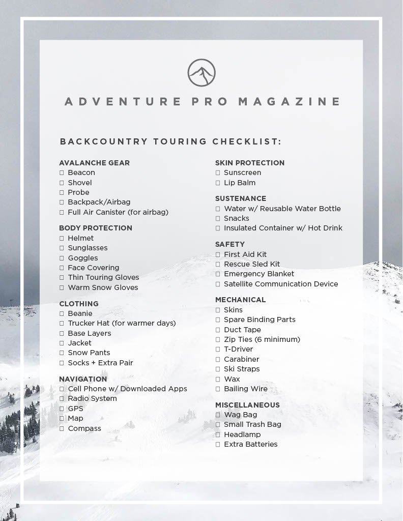 backcountry gear touring checklist