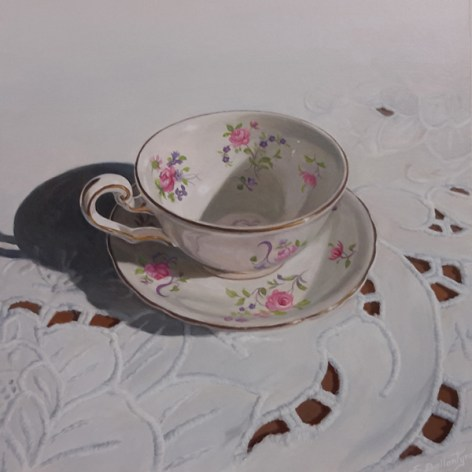 """Tea Time #1 Acrylic on Board 9"""" x 9"""" Price on Request"""