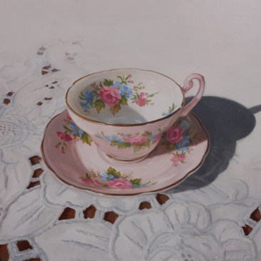 "Tea Time #2 Acrylic on Board 9"" x 9"" - Price on Request"