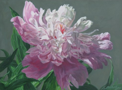"Peony #2 Acrylic on Panel 4.5""X 6""X 1.5"" SOLD"