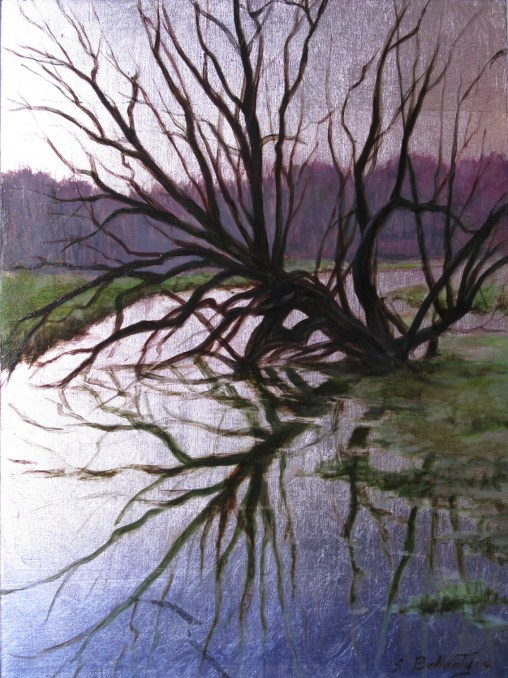 """River Willow 9"""" X 12"""" X 1.5"""" Acrylic over Silver Metal Leaf on Panel"""