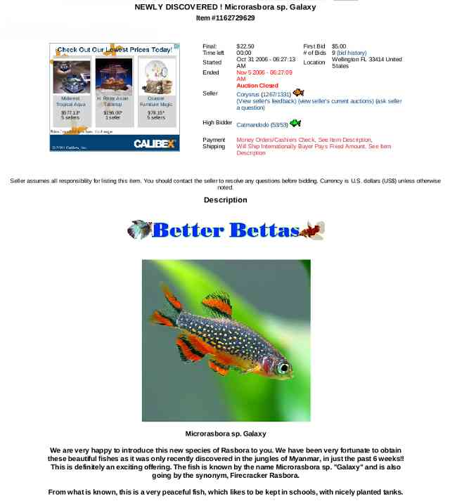 AquaBid CPD auction listing.