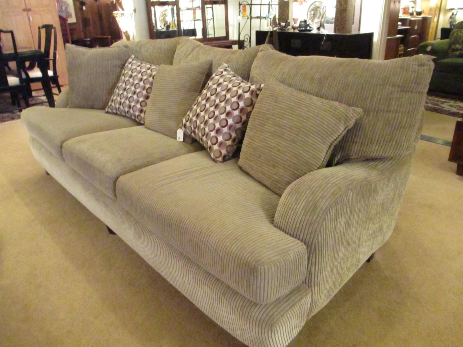 chenille sofa beds futon bed ikea khaki/grey ribbed – sold ballard consignment