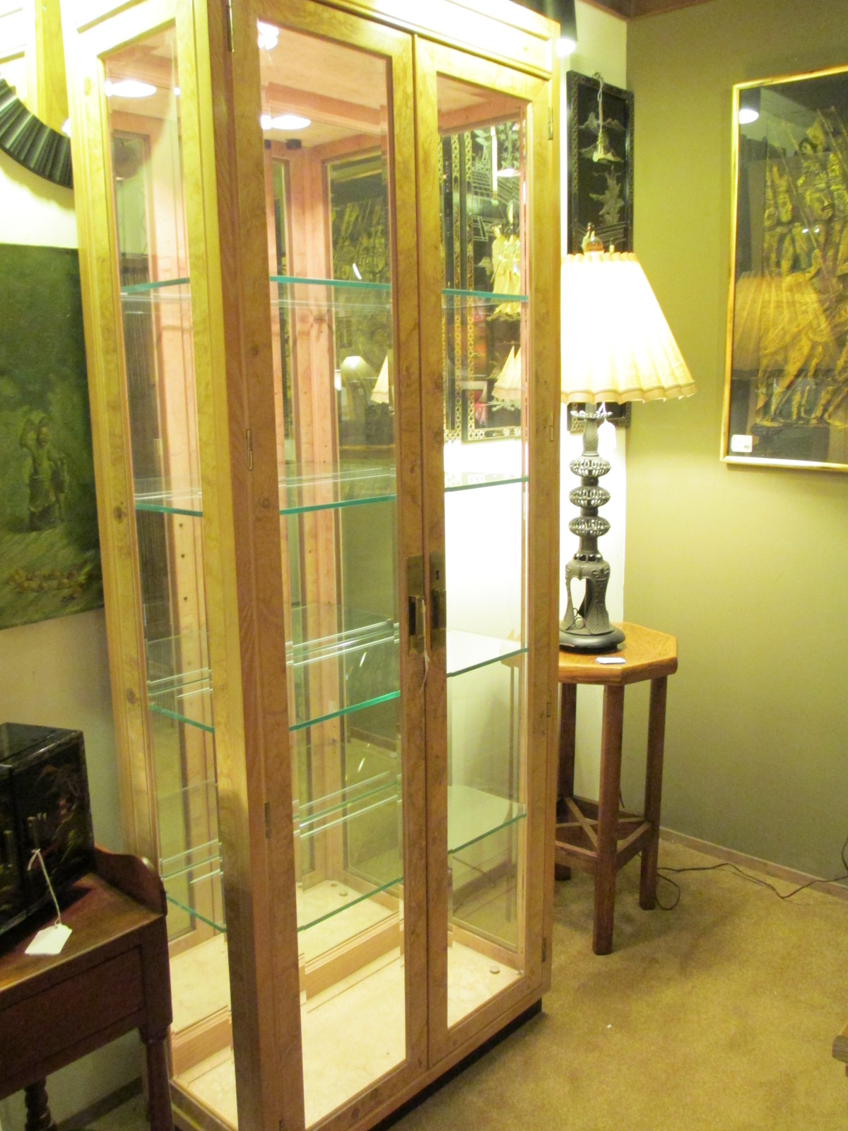 henredon chairs dining room when to put baby in sit me up chair tall glass display cabinet – sold ballard consignment