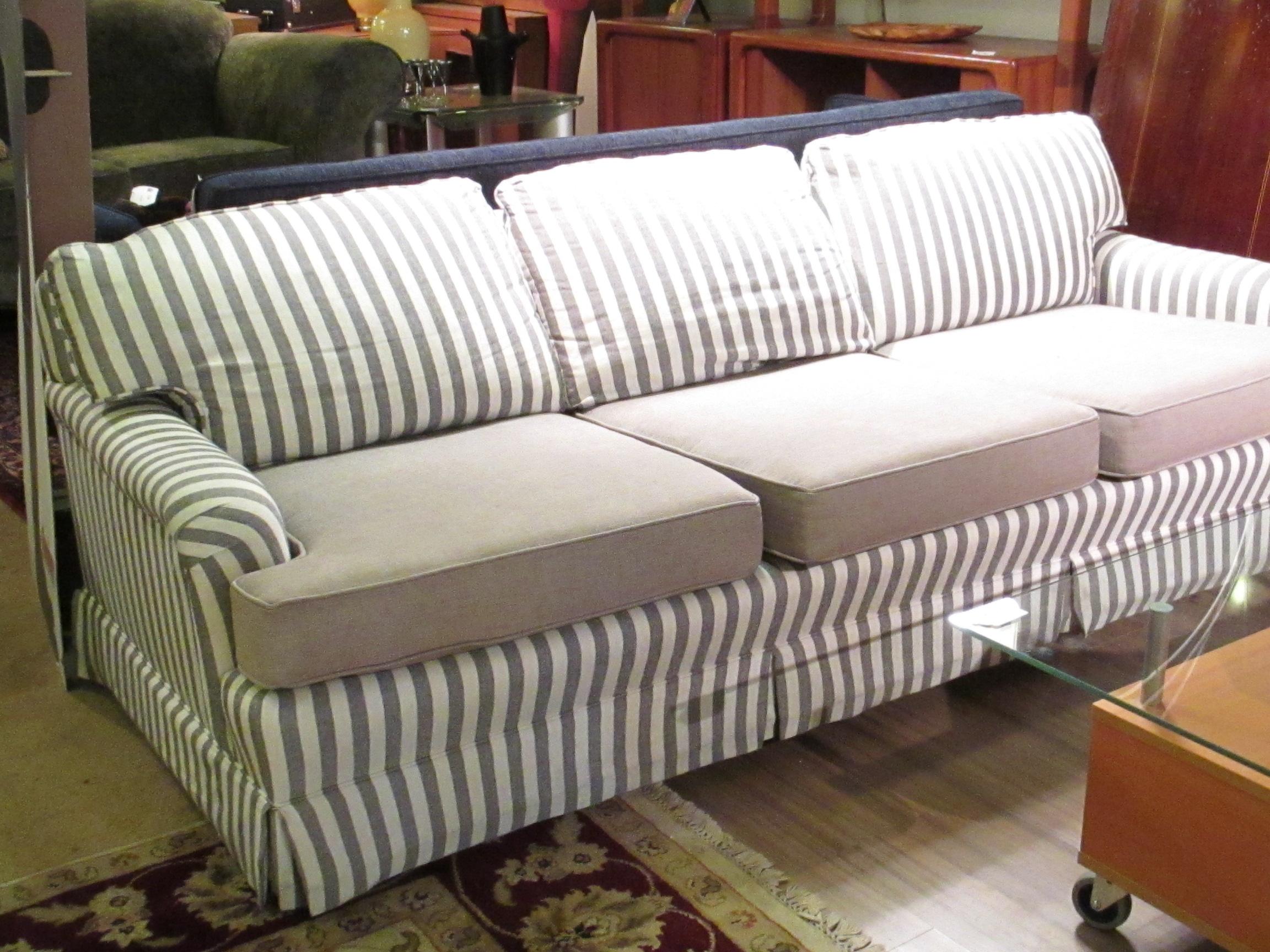 striped sofa rustic leather set casual  sold ballard consignment