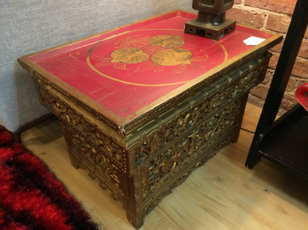 Red Gold Asian Accent Table Sold Ballard Consignment