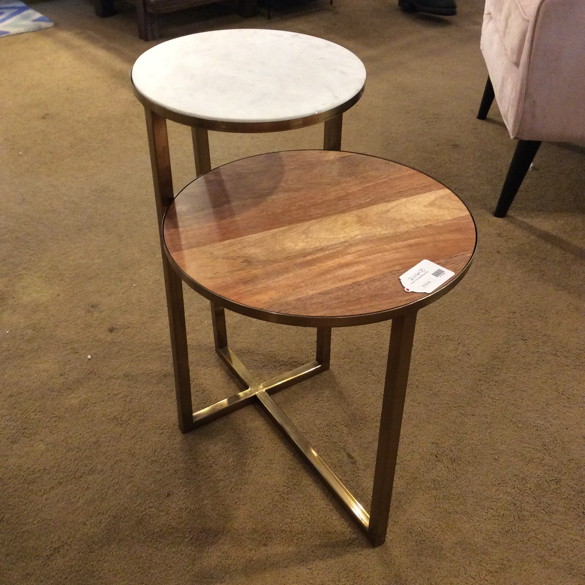 round 2 tier marble wood side table sold
