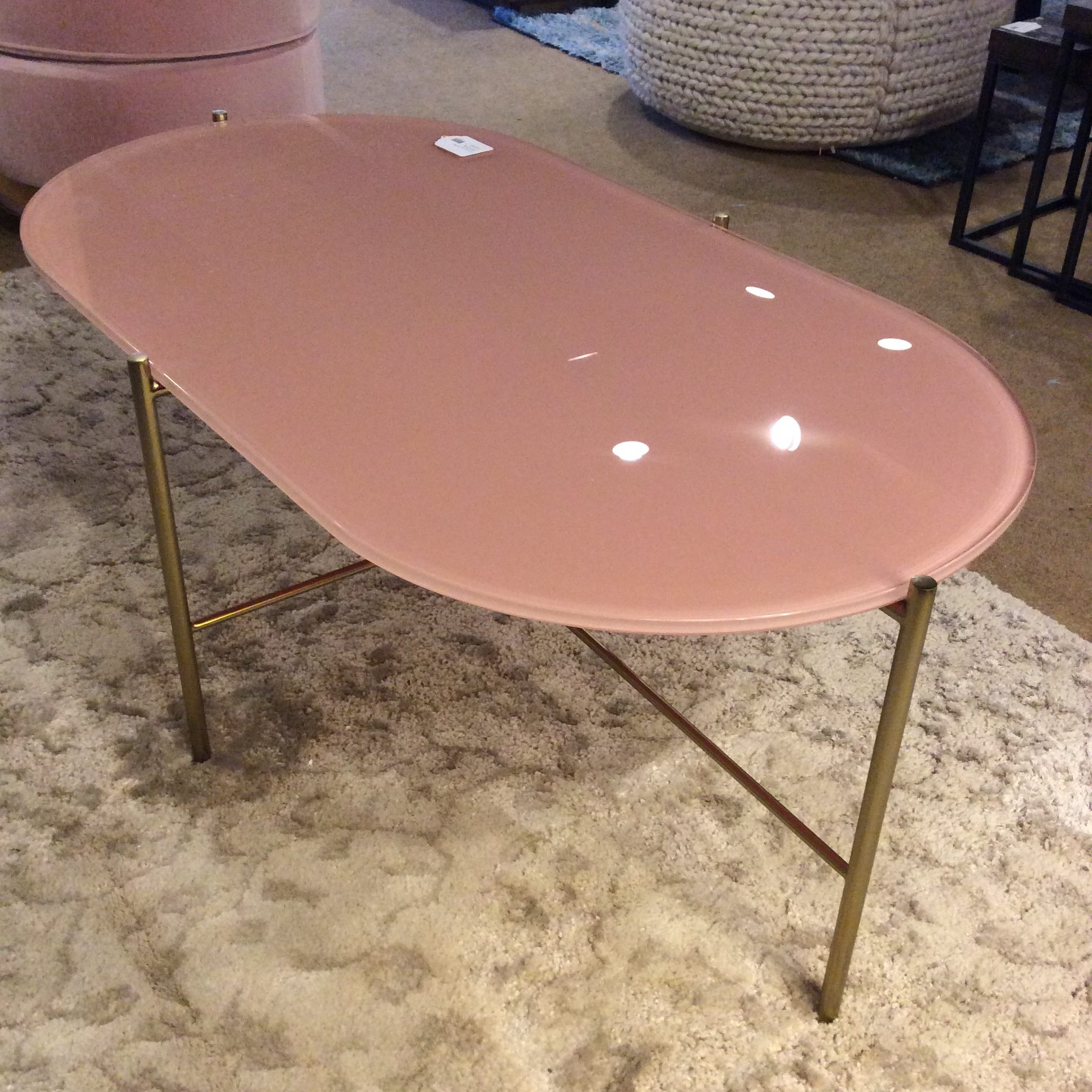 pink glass oblong coffee table sold