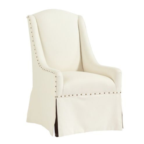 OffWhite Twill Parsons Armchair Slipcover