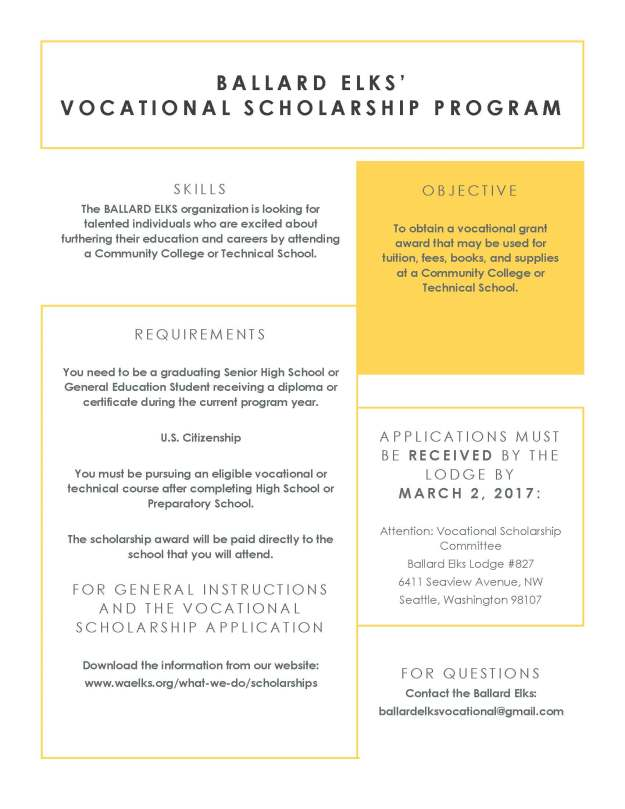 Vocational Scholarship Flyer 2018