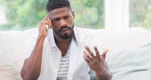 black man on phone