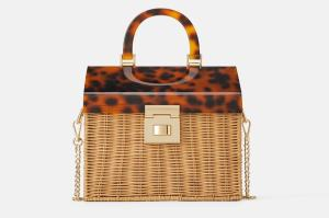 RAFFIA CITY BAG WITH TORTOISESHELL-2