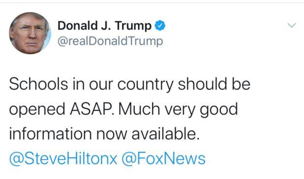 Trump wants to open schools