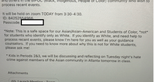 Email sent out to parents by Wellesley Public Schools by