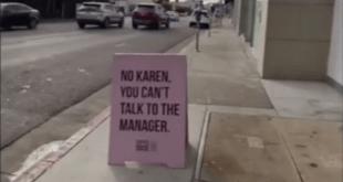 Karen sign outside L.A. shop.
