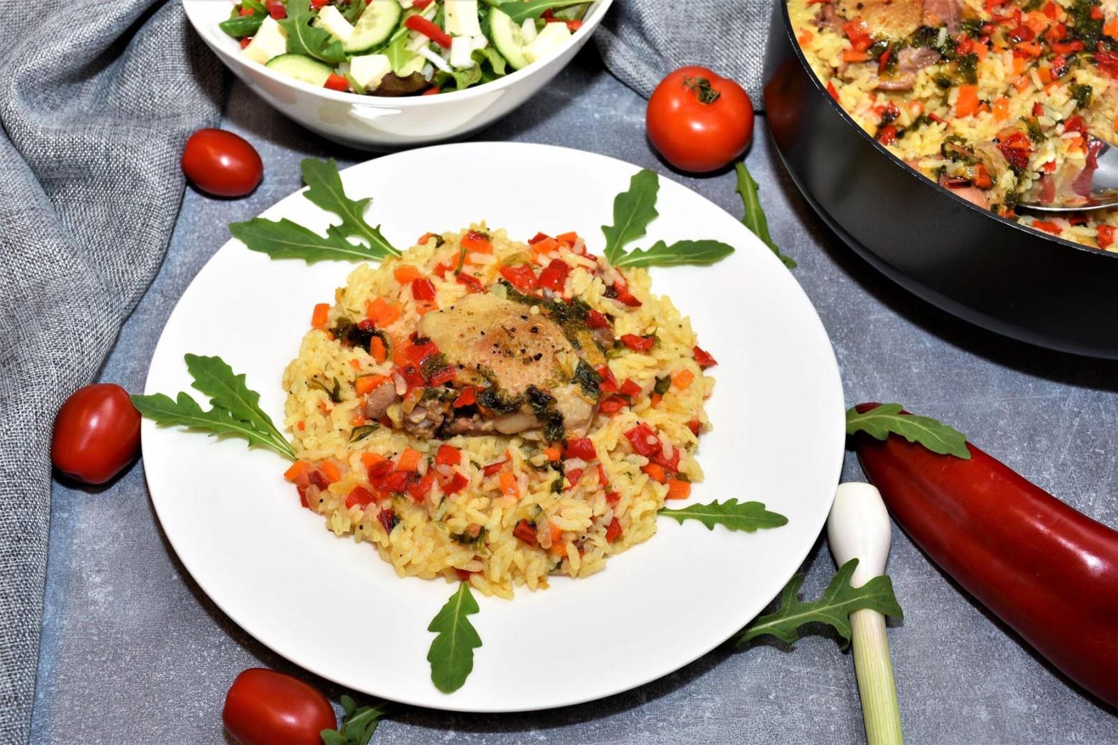 Reis mit Hähnchenschenkel aus dem Ofen Rezept