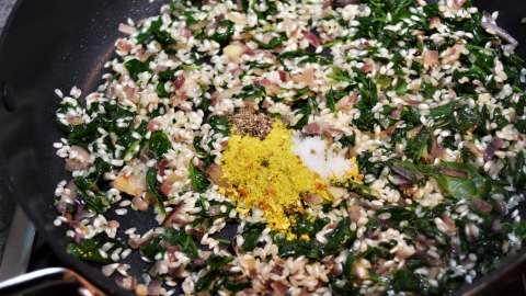 Veganer Spinat Reis Auflauf