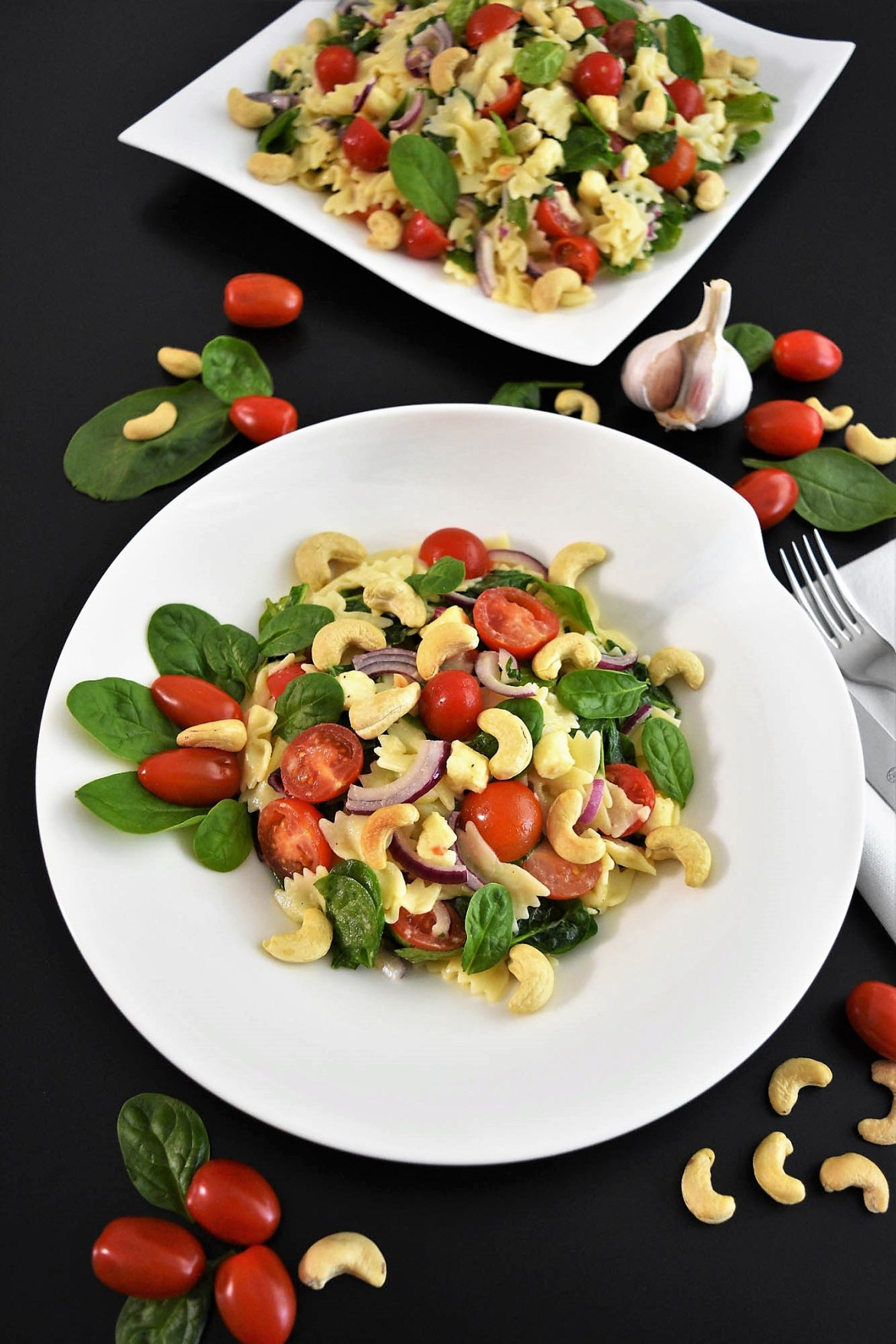 Farfalle-Spinat-Salat mit Cashewkernen Rezeptideen