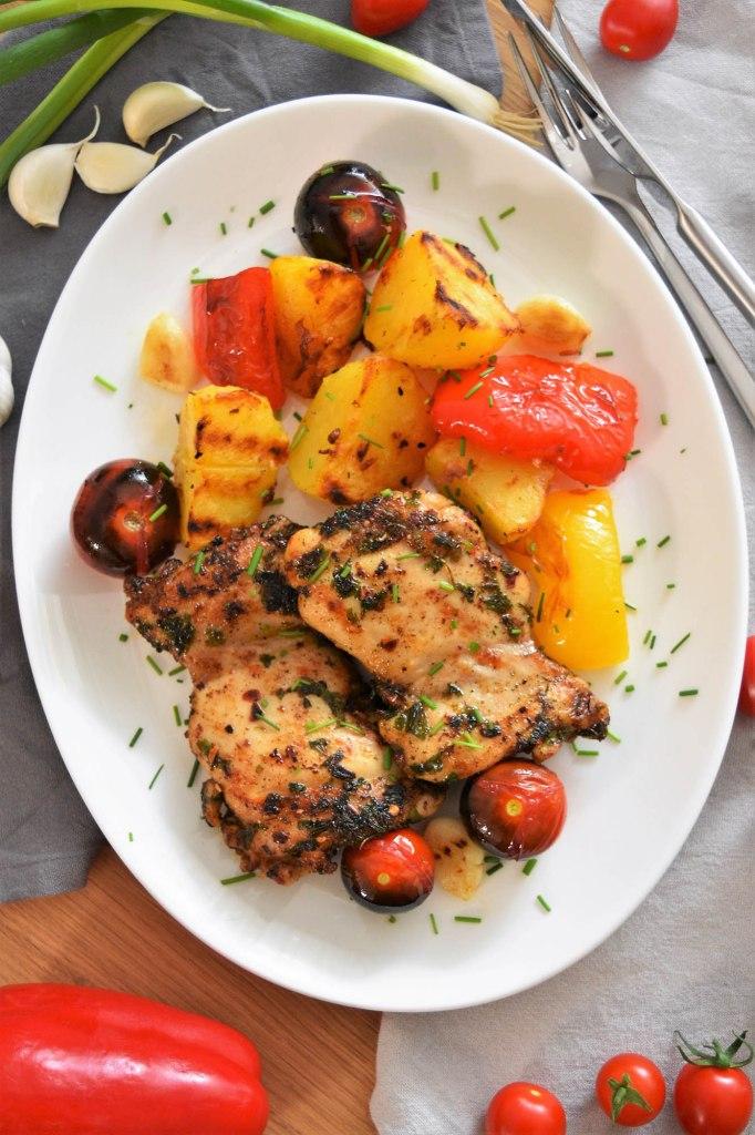 Gegrillte Hähnchenschenkel und Gemüse-Rezeptideen-ballesworld