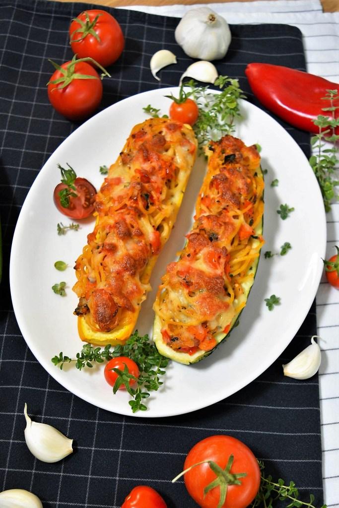 Überbackene Zucchini mit Spaghetti Füllung-Rezeptideen-ballesworld-ballesworld