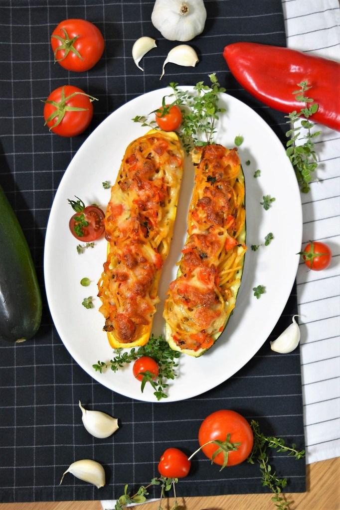 Überbackene Zucchini mit Spaghetti Füllung-Vegetarisch-ballesworld