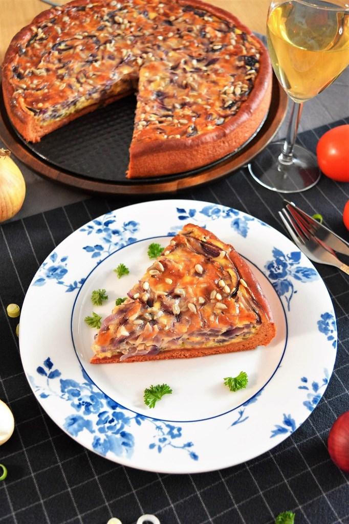 Zwiebelkuchen mit Rote Beete Mehl-Eigene Rezept-ballesworld