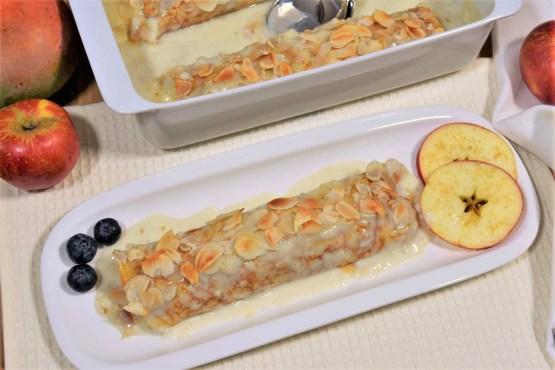 Überbackene Apfel-Korinthen Pfannkuchen-Rezept-ballesworld