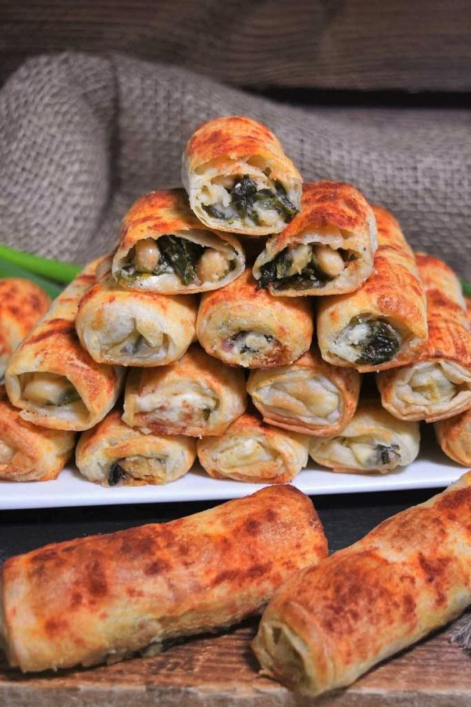 Weiße Bohnen Spinat Röllchen-Snacks-ballesworls