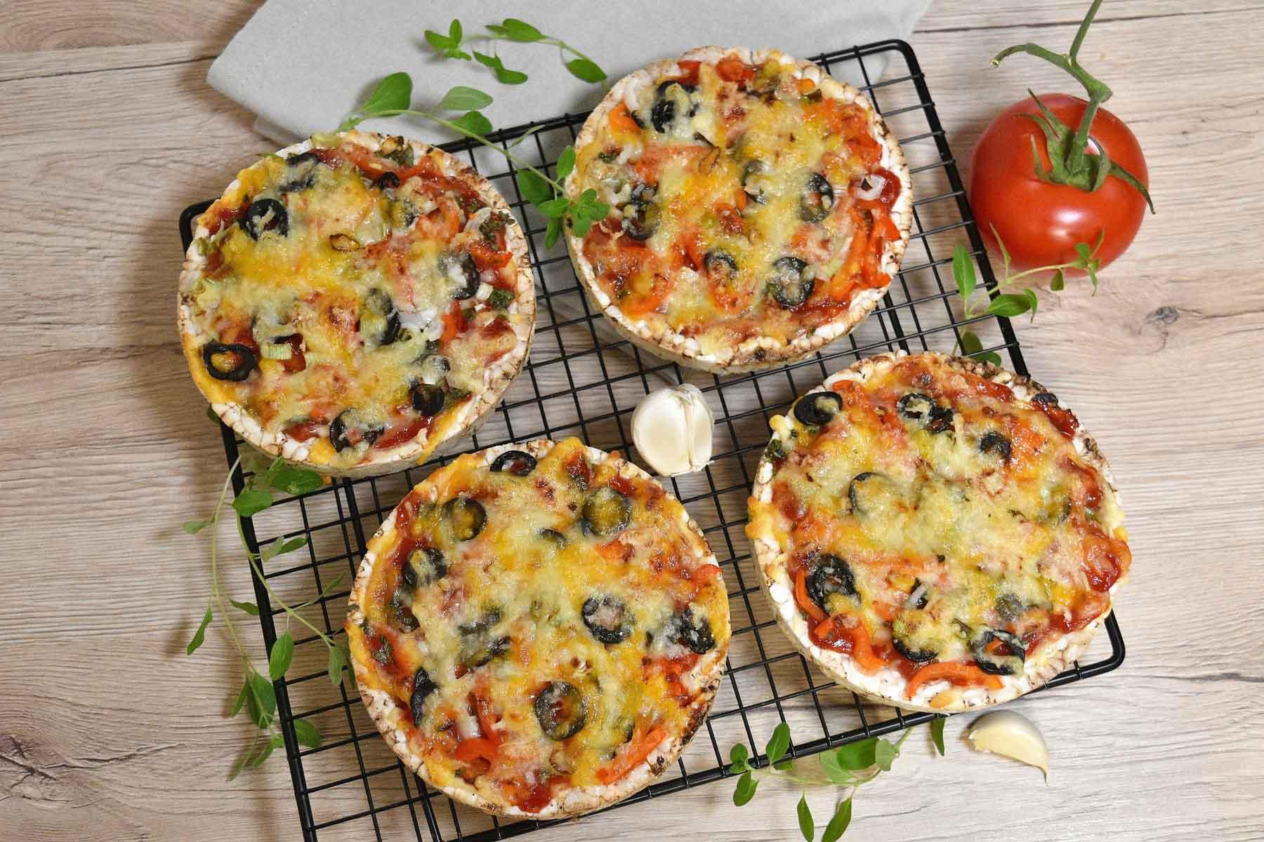 Reiswaffel Mini-Pizza
