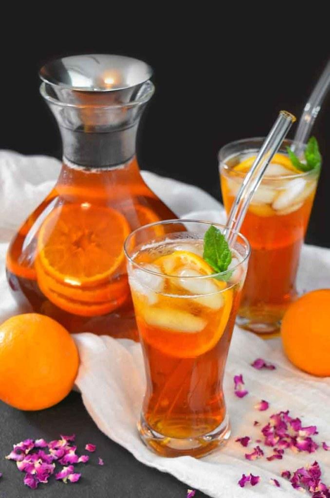 Rosen-Orangen Eistee-Erfrischende Getränke-ballesworld