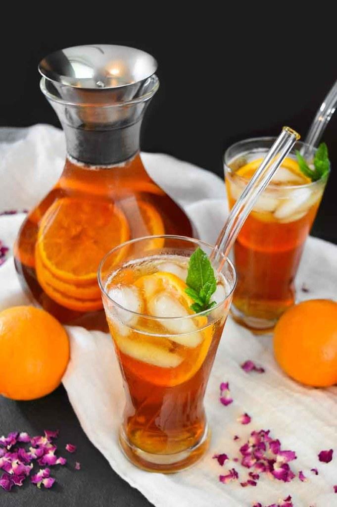 Rosen-Orangen Eistee-kalte Getränke-ballesworld