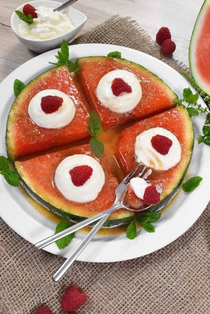 Karamellisierte Wassermelone-Dessert-ballesworld
