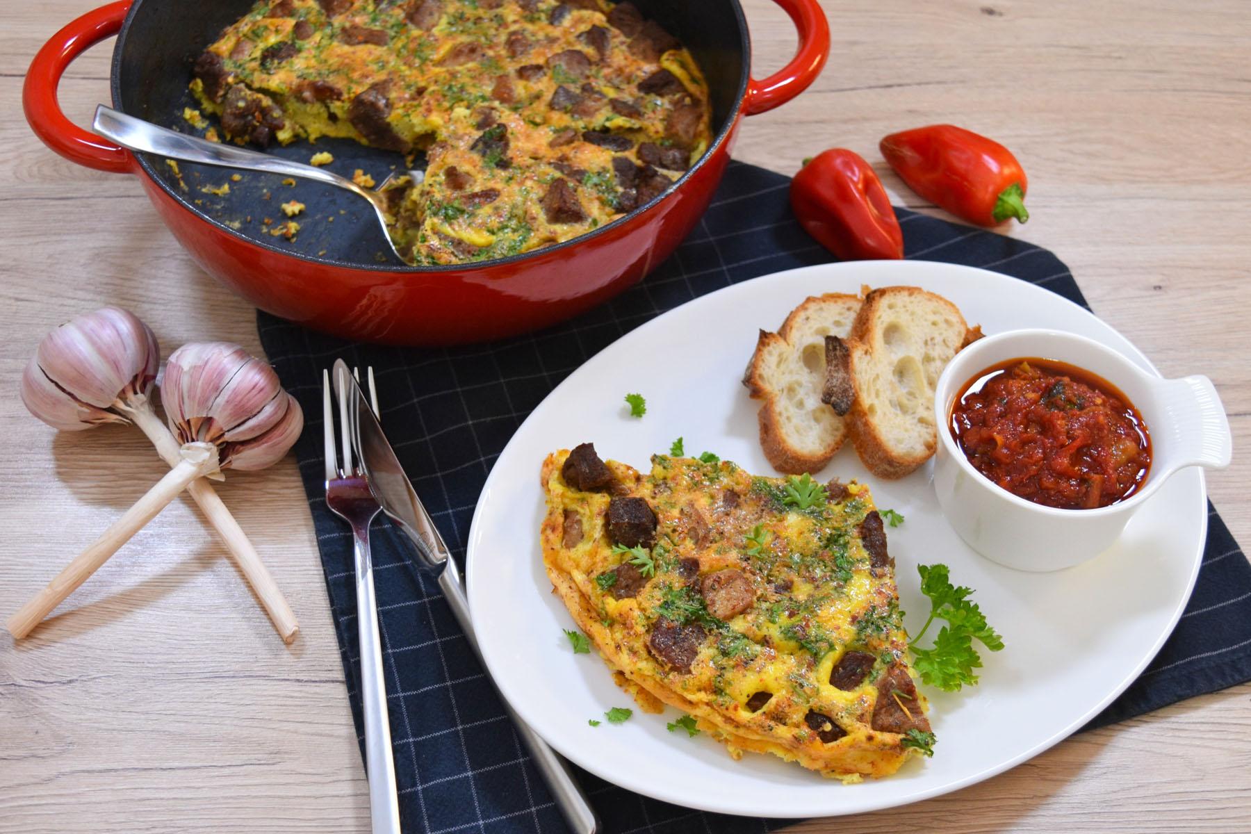 Gebackenes Fleisch mit Eiern nach mazedonischer Art